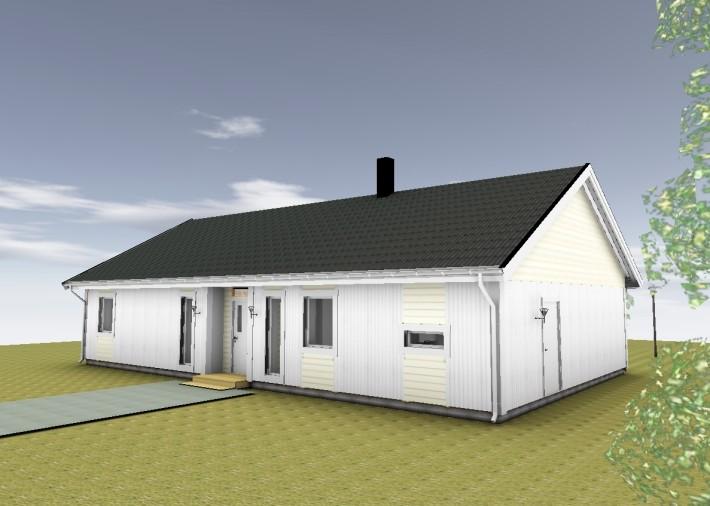 Modernt enplanshus med liggande panel