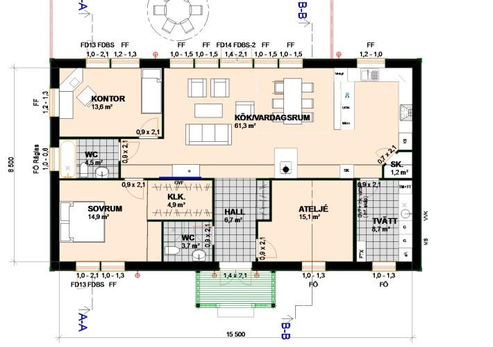 Planritning enplanshus Villa Varm
