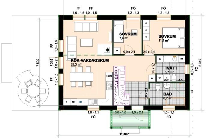 Planlösning generationshus bottenvåning