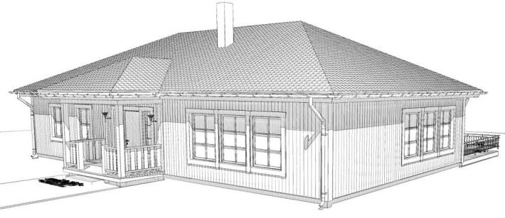 Fasad hus med valmat tak