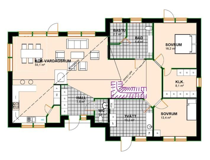 Planlösning Villa Sikträsk