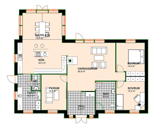 Planlösning vinkelhus Villa Alvik