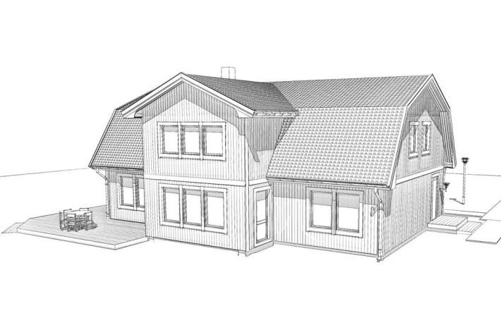 Husskiss hus med mansardtak