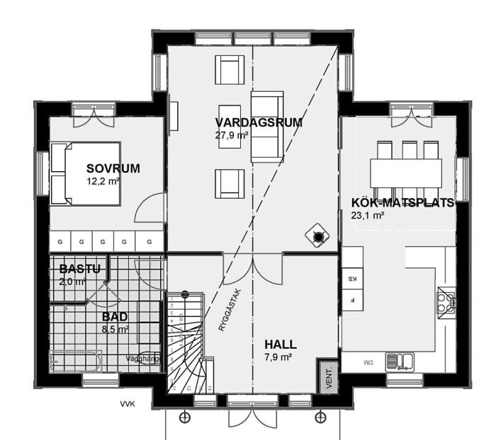 Planlösning Övervåning Villa Rosendal