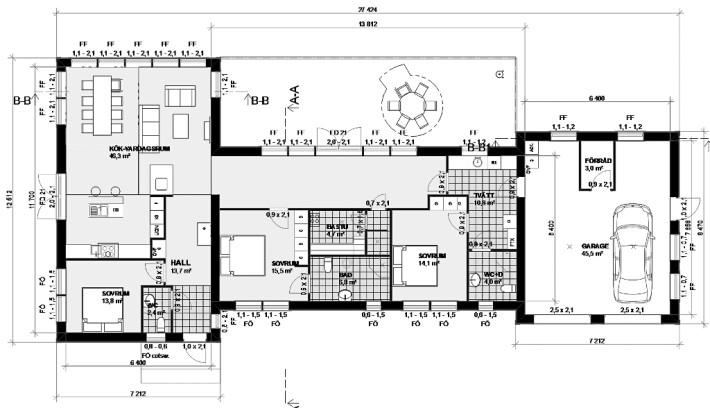 Planlösning Villa Duved