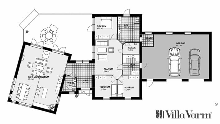 Planlösning Villa Sävastön hus med dubbelgarage