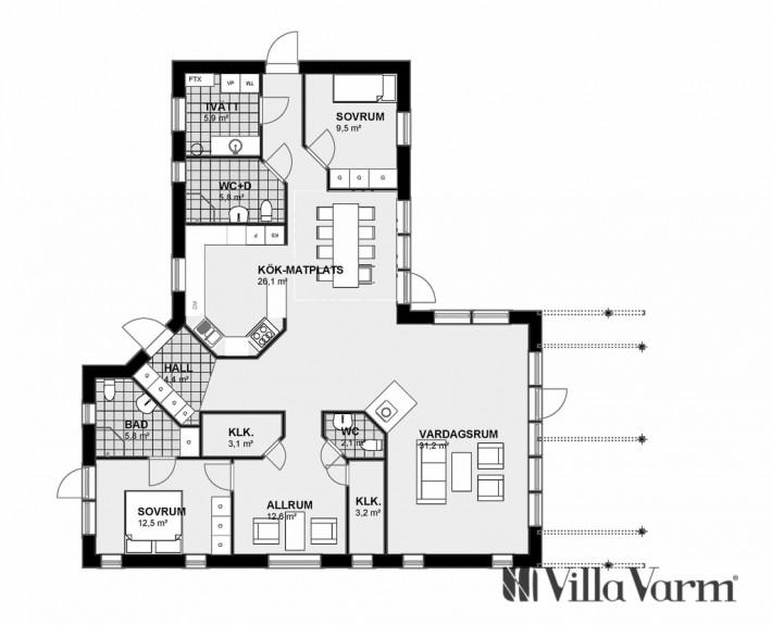 planlösning seniorvilla