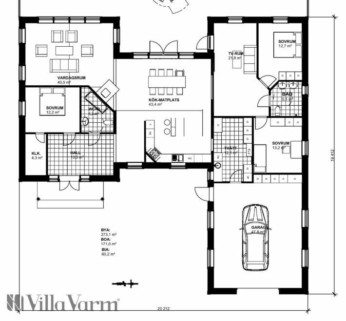 Planlösning Villa Mellerud