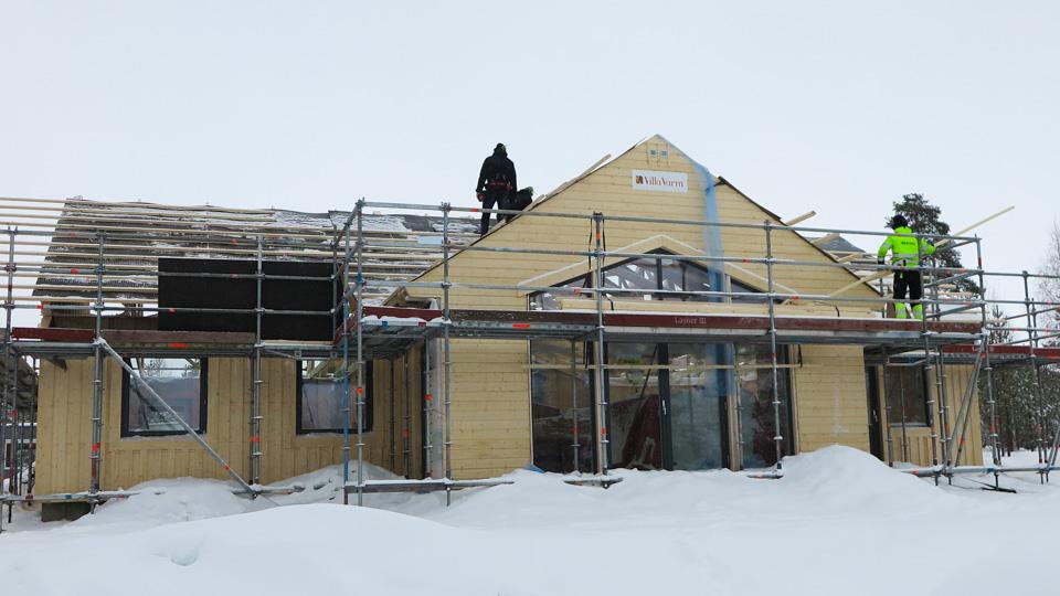 Enplanshus med ryggåstak och spännande fönstersättning